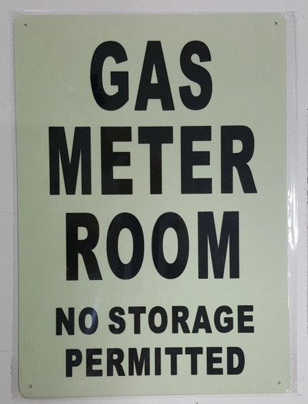 GAS METER ROOM NO STORAGE PERMITTED SIGNAGE - PHOTOLUMINESCENT GLOW IN THE DARK SIGNAGE (PHOTOLUMINESCENT )