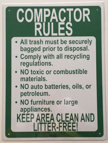 COMPACTOR RULES KEEP AREA CLEAN AND LITTER-FREE SIGNAGE (ALUMINUM SIGNAGES 116, WHITE)