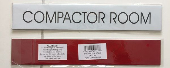 COMPACTOR ROOM SIGNAGE - PURE WHITE