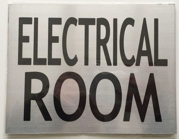 ELECTRICAL ROOM SIGNAGE  BRUSHED ALUMINUM (ALUMINUM SIGNAGES)