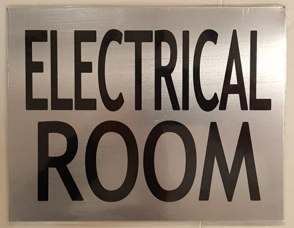 ELECTRICAL ROOM SIGN  BRUSHED ALUMINUM (ALUMINUM SIGNS)