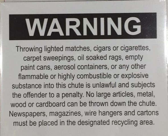 COMPACTOR ROOM SAFETY SIGN - CHUTE WARNING - PURE WHITE