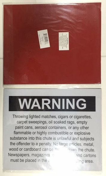 COMPACTOR ROOM SAFETY SIGNAGE - CHUTE WARNING - PURE WHITE