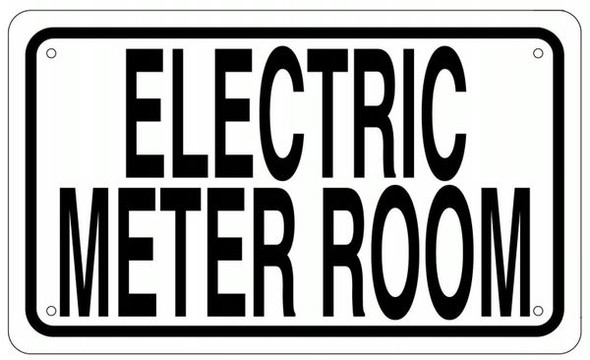 ELECTRIC METER ROOM SIGNAGE- WHITE ALUMINUM