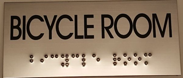 BICYCLE ROOM SIGN STAINLESS STEEL SIGN
