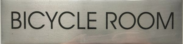 BICYCLE ROOM SIGN - BRUSHED ALUMINUM