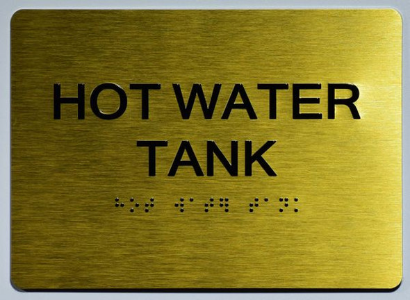 HOT WATER TANK SIGN Gold