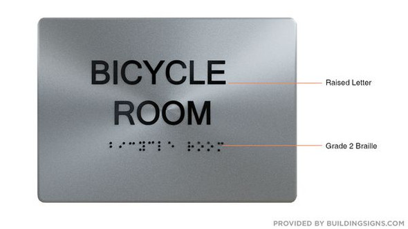 BICYCLE ROOM SIGN BRUSH SILVER