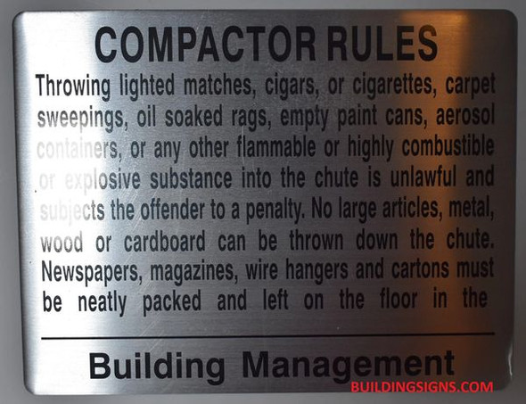 COMPACTOR RULES SIGNAGE (ALUMINUM SIGNAGES,SILVER)