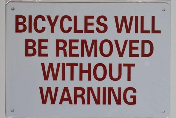 BICYCLES WARNING DOB SIGN