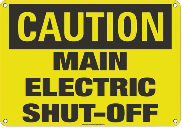 CAUTION MAIN ELECTRIC SIGN Yellow