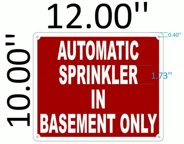 AUTOMATIC SPRINKLER IN BASEMENT ONLY Signage