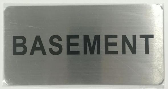 BASEMENT SIGN BRUSHED ALUMINUM