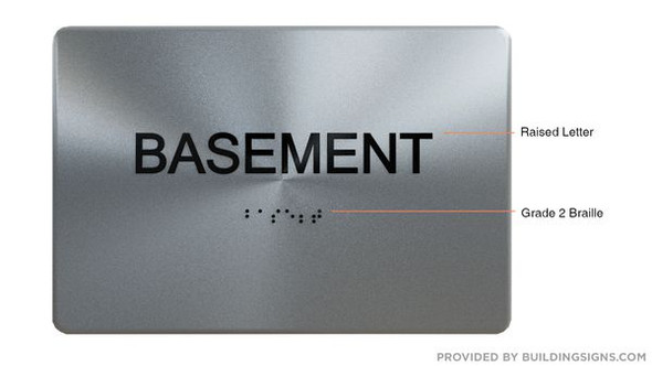 BASEMENT  Braille sign -Tactile Signs  The sensation line    Braille sign