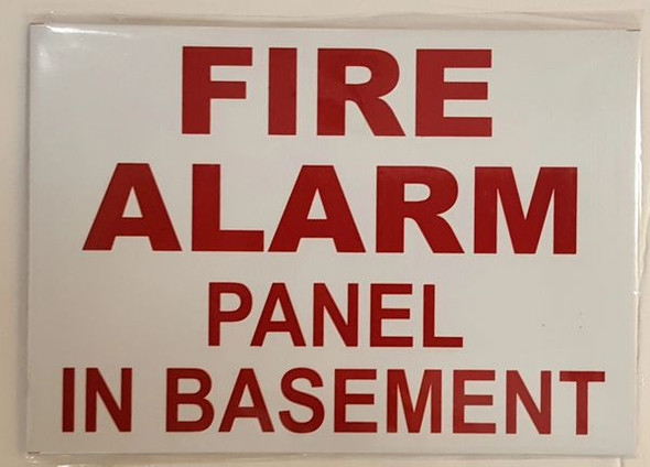 FIRE ALARM PANEL IN BASEMENT SIGN White