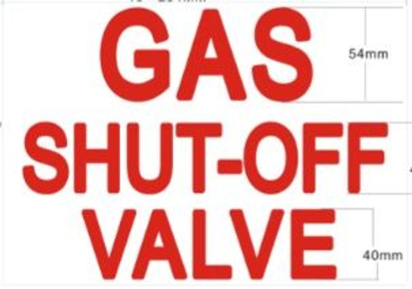 GAS SHUTOFF VALVE SIGN for Building