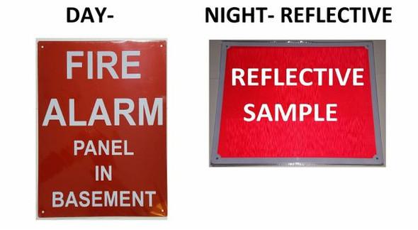 FIRE ALARM PANEL IN BASEMENT SIGNAGE (ALUMINUM SIGNAGE, RED)