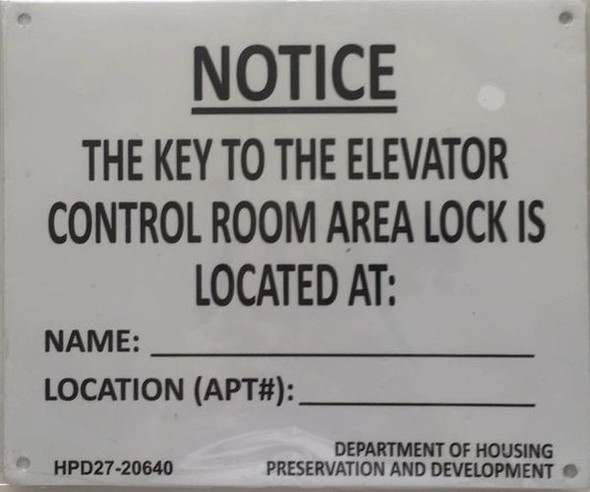KEY TO THE ELEVATOR CONTROL ROOM SIGN (WHITE ALUMINUM SIGN) (ALUMINUM SIGNS)-El blanco Line