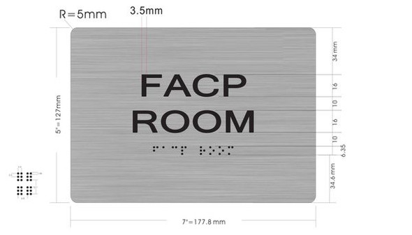 FACP ROOM SIGN Brush SILVER