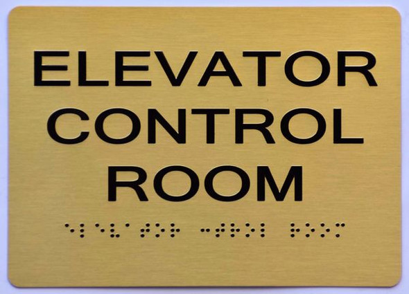 GOLD ELEVATOR CONTROL ROOM SIGN - The Sensation line -Tactile Signs