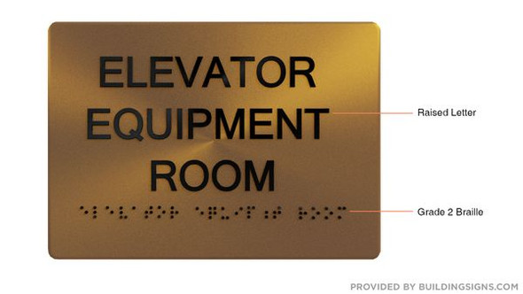 Elevator Equipment Room SIGN - The Sensation line -Tactile Signs  Braille sign