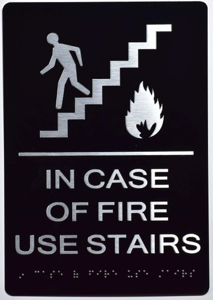 In Case of Fire Use Stairs - DO NOT Use this Elevator SIGN -The Sensation line -Tactile Signs Ada sign