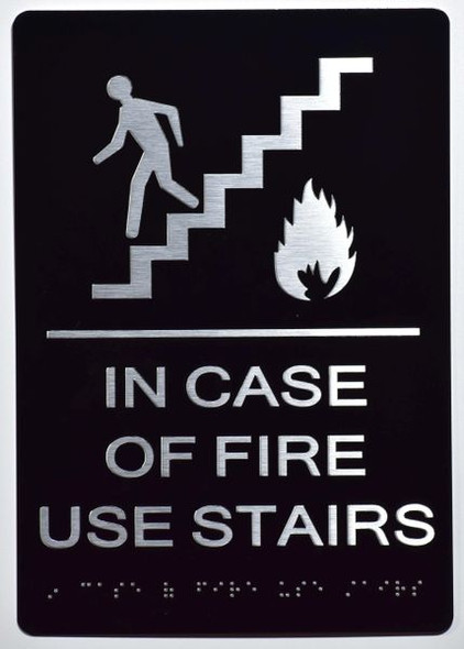 In Case of Fire Use Stairs - DO NOT Use this Elevator SIGN -The Sensation line -Tactile Signs  Braille sign