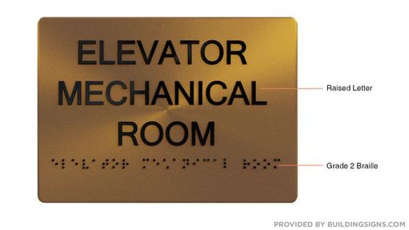 ELEVATOR MECHANICAL ROOM Sign ADA-  Braille sign