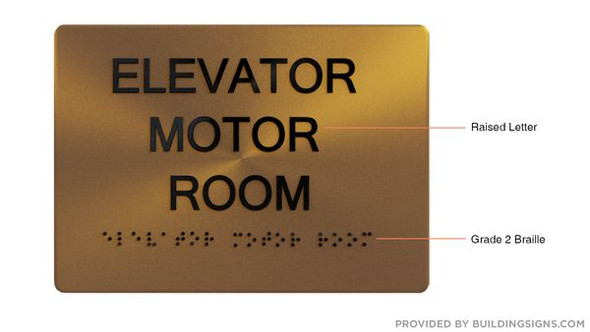 ELEVATOR MOTOR ROOM SIGN - The Sensation line -Tactile Signs  Braille sign