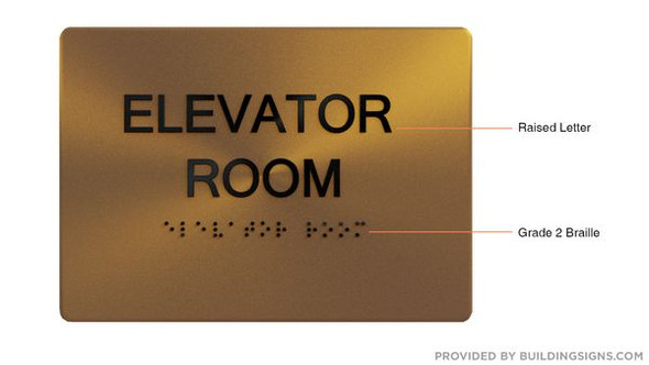 ELEVATOR ROOM SIGN- The Sensation line -Tactile Signs  Braille sign