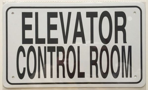 ELEVATOR CONTROL ROOM SIGNAGE- WHITE ALUMINUM