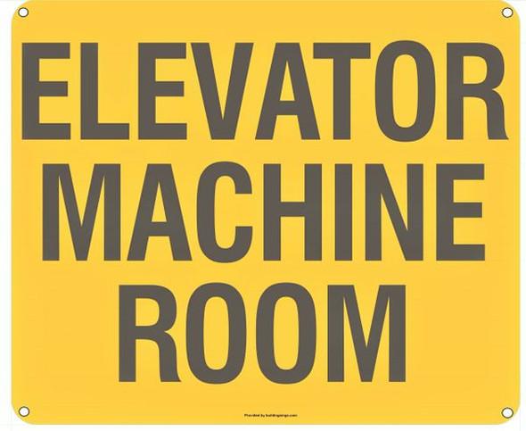 ELEVATOR MACHINE ROOM SIGN  YELLOW