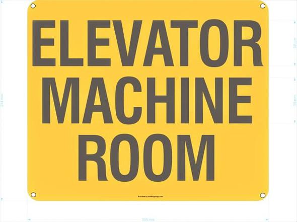 ELEVATOR MACHINE ROOM SIGNAGE  YELLOW
