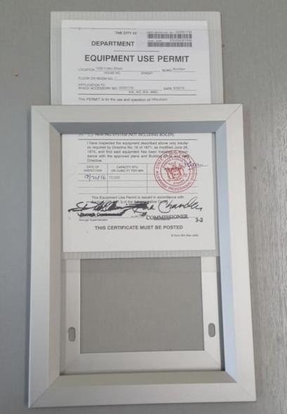 Elevator permit frame  (ELEVATOR FRAMES )