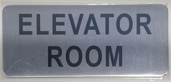 ELEVATOR ROOM SIGN  BRUSHED ALUMINUM - The Mont Argent Line
