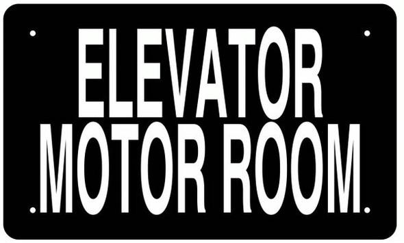 ELEVATOR MOTOR ROOM SIGN BLACK