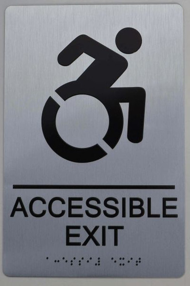 ACCESSIBLE EXIT Sign  Braille sign -Tactile Signs  The sensation line   Braille sign