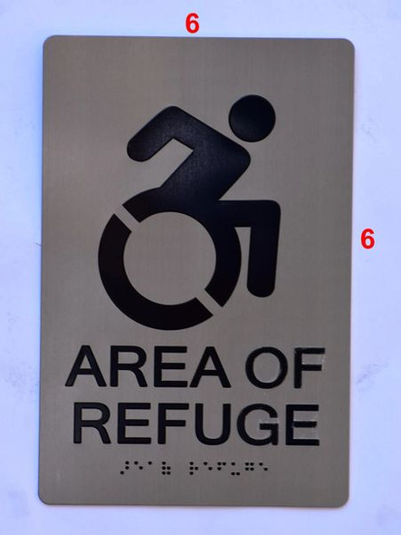 AREA OF REFUGE SIGNTactile Signs     Braille sign