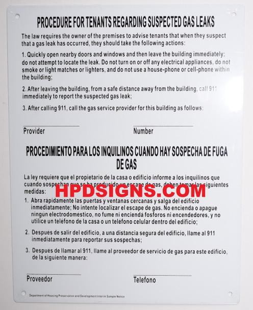 NYC HPD gas leak notice