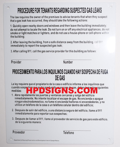 NYC HPD gas leak notice