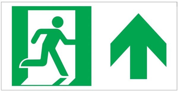 """GLOW IN THE DARK HIGH INTENSITY SELF STICKING PVC GLOW IN THE DARK SAFETY GUIDANCE SIGN - """"EXIT"""" SIGN"""