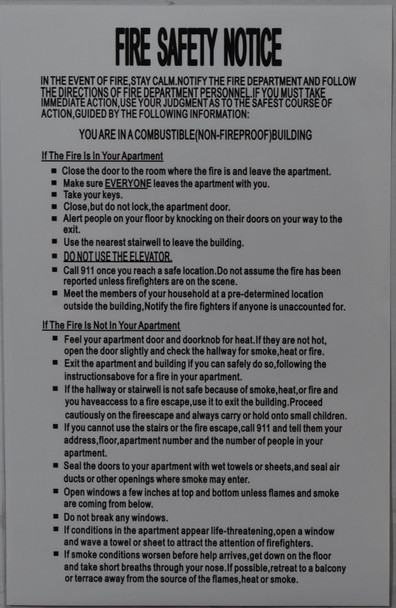 FIRE SAFETY NOTICE SIGN - NON FIRE PROOF BUILDING