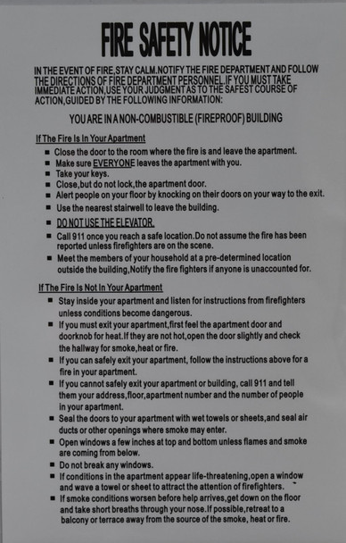 HPD FIRE SAFETY NOTICE - FIREPROOF BUILDING