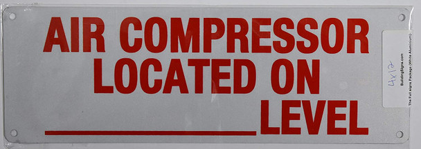 AIR Compressor Located in Basement Level Sign