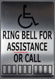 Wireless Doorbell for office / restaurant and commercial use- No Battery Required + sign ring bell for assistance or call silver 7x10 with double sided tape