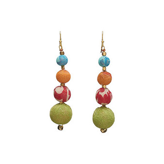 fair trade and handmade - recycled kantha fabrics make colorful, fun earrings.