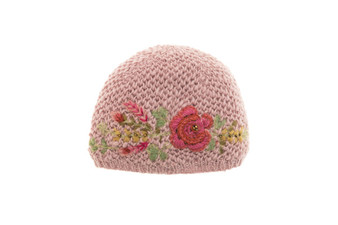 Hand knit hat with embroidery and beads