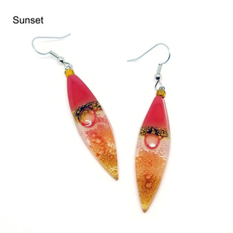 Long Almond Glass Earring