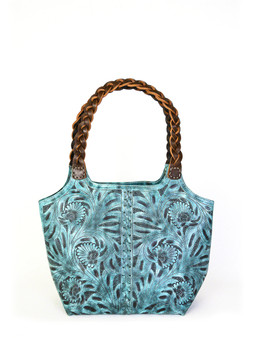 Leaders in Leather tooled bag aqua 1320T