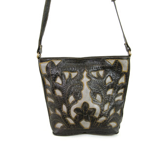Leaders in Leather 5075T cutout tooled shoulder bag